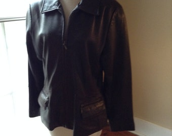 Vintage Expresso Leather Jacket from Jones New York, 90s, Sz Med