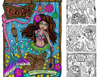 Tails From the Tiki Bar Mermaids Coloring book Hawaii Coloring Adults Whimsical whales dolphins mermaid ocean palm trees hula shells