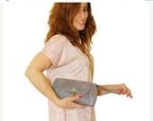 50% sale / gray women wallet / leather wristlets/ hand purse/ clutch wallet / slots card wallet / gift for her