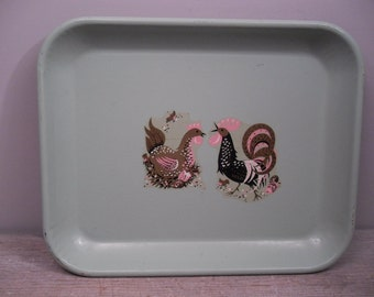 vintage green metal tray / serving tray / chicken and rooster