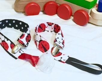 Set of Two Ladybug Paci Clips