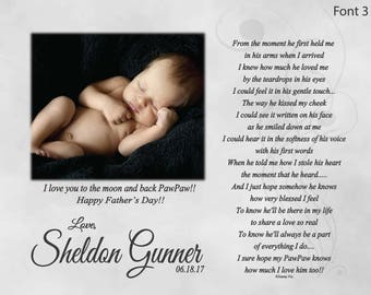 New Grandpa Father's Day Gift from Baby Personalized-Poetry Print From the Moment He first Held Me Poem-Custom Gift from Baby to Papa