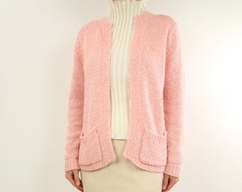 VINTAGE Pink Cardigan Sweater 1980s Boucle Knit