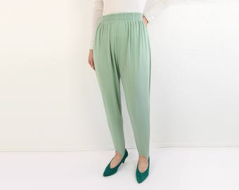 VINTAGE Stirrup Pants 1980s Light Green