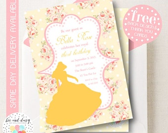Beauty and the Beast Invitation, Beauty and the Beast Birthday Invitation, Beauty and the Beast Party Invitation Belle Inspired BeeAndDaisy