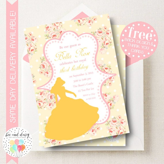 Beauty and the beast invitation for girls birthday party printable il570xn filmwisefo