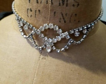 Vintage Silver Tone Clear Rhinestones Necklace 1950s Bride Bridal Something Old