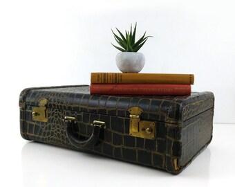 Vintage Faux Croc Suitcase