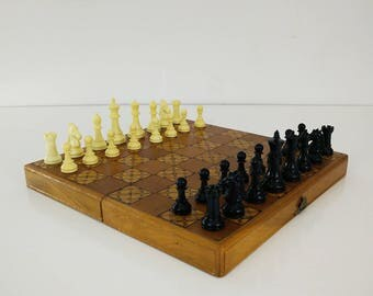 Vintage Wood Inlay Chess Set, Portable