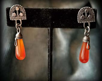 Semi-Circle Earrings with Carnelian Drops