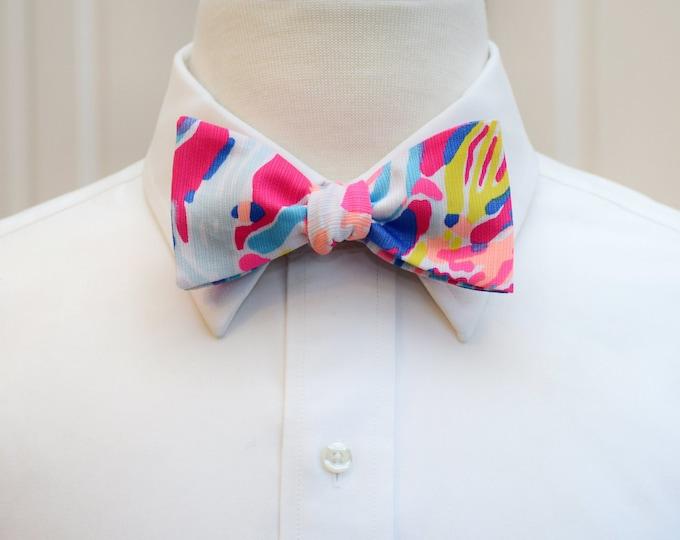Men's Bow Tie, Sunken Treasures hot pink/multi Lilly bow tie, groomsmen/groom bow tie, wedding party bow tie, prom bow tie, Derby bow tie