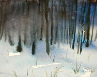 New England Winter-Scape No.40, limited edition of 50 fine art giclee prints from my boriginal watercolor