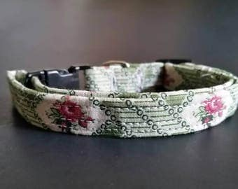 "small dog collar, dog collar, puppy collar, fits 9-13"" inch neck, 3/8"" collar, purple diamonds, vintage roses, girl collar, female collar"