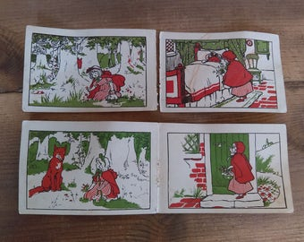 Vintage Little Red Riding Hood Lithograph Book Pages