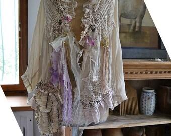RESERVED Art To Wear Sweet Lovely Feminine Delicate Ivory Jacket Laces Silk Velvet LAVENDER ROSE  Millinery Details Boho Fairy Tattered