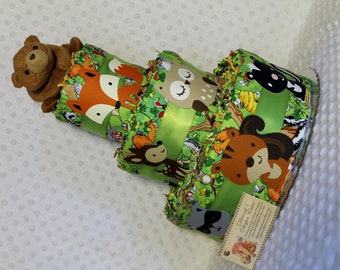 Baby Diaper Cake Woodland Animals Bear Topper Shower Gift Centerpiece