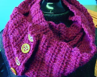 Alpaca Wool Scarf, Infinity, Woman, Hand Died, Pink, Fuchsia, Cowl, Crochet knit, Woollen, Button Up, Trending, Retro, Classic, Fashion