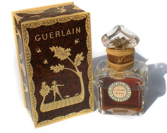 Rare Guerlain Perfume Scent 624 Baccarat Glass Bottle Paris France L'Heure Bleue 3oz with Original Packaging & Box 1950s Extrait