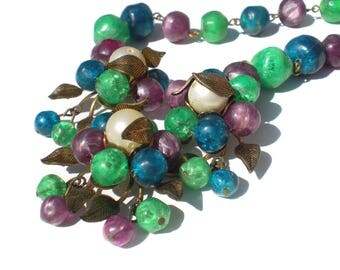 "Purple Green and Blue Cluster Necklace Huge Statement Piece with Brass Leaves Adjustable up to 18"" - Vintage Jewelry"