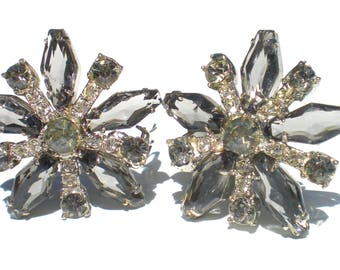 Formal Rhinestone Clip Earrings with Kite Shaped Glass in Smoky Grey on Silver Tone - Vintage Jewelry