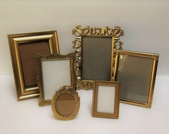 6 Ornate Gold Picture Frames Easel backs to stand on table top
