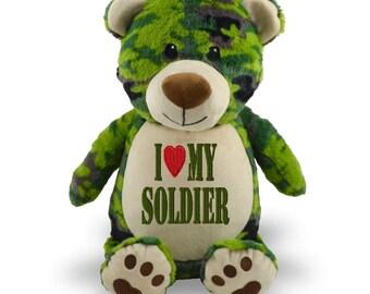 Personalized Stuffed animal, Stuffed Animal, personalized bear, camo bear, baby shower, baby shower gift