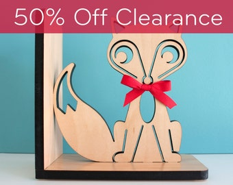 SALE! CLEARANCE 50% OFF! Fox Bookend: Wood Modern Baby Nursery Children