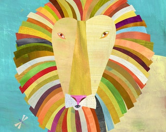 Colorful Lion Canvas Art Print // Kid's Room // Children's Illustration