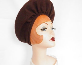 Vintage 1940s hat, brown platter pancake hat, clamshell NY Creation
