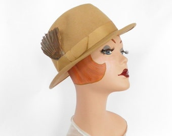 LL Bean fedora hat, vintage woman's camel tilt with feathers