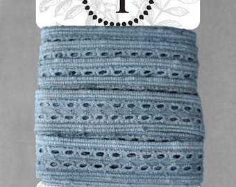 Naturally Dyed Organic Cotton Lace, 20mm wide - Light Indigo *sold by the 5m card*