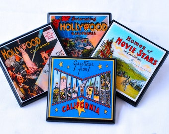 Coaster Set, Old Hollywood Glamour Decor, Retro Los Angeles Wood Drink Coasters, unique hostess housewarming gift, California Decor