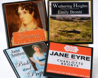 Book Coaster Set, Classic Book Cover Drink Coasters, Book Club Gifts for Readers, Literary Decor, Teacher Gift, Jane Austin charlotte bronte