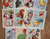 11 Vintage Animal Rummy Cards