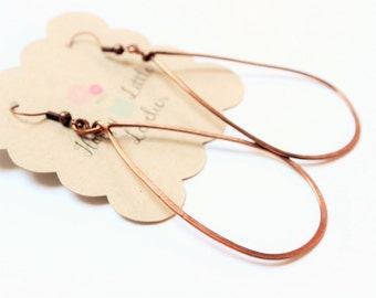 Bronze Teardrop Earrings, large hoops, hammered hoops, hammered earrings