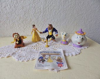 Beauty and the Beast,  Burger King Fast Food Toy Figure set, plus a small Lumiere the candelabra and teapot.