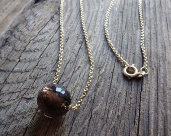 Gold Necklace with a faceted smocky quartz gemstone