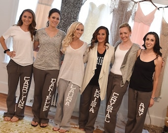 SALE! 15% off - use code SALE15 - Personalized Wedding Yoga Style Sweatpants - Bridesmaid Gift - Will You Be My Bridesmaid - sister9designs