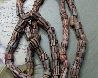 Long Strand Antique Trade Beads w/ Red Black Blue Stripes    NDW15