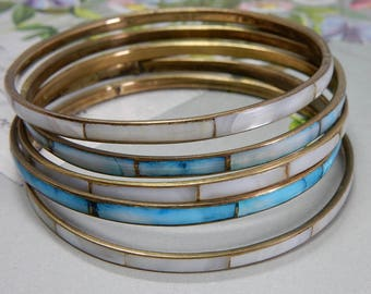 Set of 5 Vintage Mother of Pearl Mosaic Gold Bangle Bracelets    OAN35
