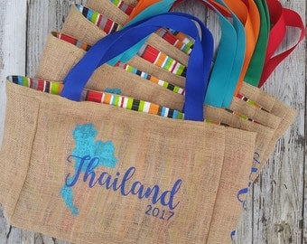 5+ Thailand - Destination Custom Wedding Welcome Burlap Tote Bags - Handmade Favors or Bridesmaids Gifts