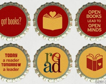 Book Magnet Set, 6 Bottle Cap Magnets, book baby shower favors, secret santa gift, book lover gift, book club gift, librarian gift, fridge