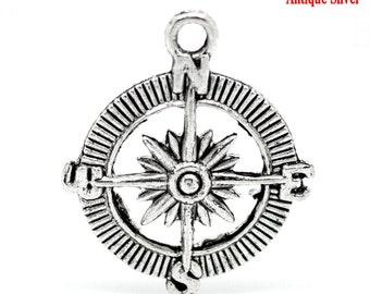 10pcs. Antique Silver Compass Navigational Charms Pendants - 30mm X 25mm