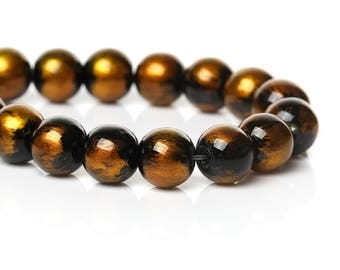 "105 pcs Black and Yellow Gold Pearl Swirl Glass Round Loose Beads - 8mm - Hole Size: 1.5mm - 32"" Strand"