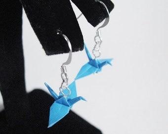 "Winter Sale Origami Crane earrings Aquamarine Blue 3/4""  Paper Crane Earrings Solid Color"