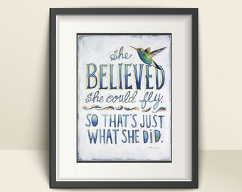 She believed She Could So She Did, Hummingbird Art, Ready to Frame Prints, She Believed She Could Quote, Bird Nursery Decor with Hummingbird