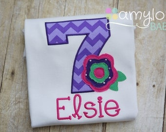 Purple and Pink Birthday Number and Flower Toddler Tee Shirt - First, Second, Third, Fourth, Fifth Sixth Seventh - Girl - Personalized