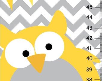 Personalized Growth chart Yellow and Gray Chevron and Polka dots, Personalized Owls Canvas Growth Chart, Owls Nursery Wall Art
