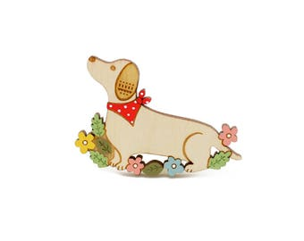 Dachshund brooch ~ hand painted laser cut dog brooch