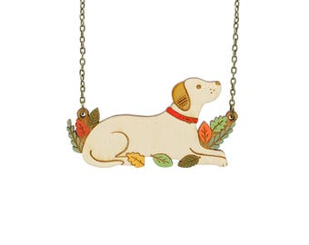 Labrador necklace ~ hand painted laser cut dog necklace